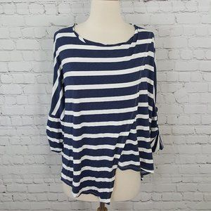 Made in Italy Striped Tab Sleeve Asymmetical Top S